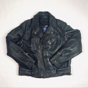 VTG Vance Leather Black Motorcycle Jacket 46/XL